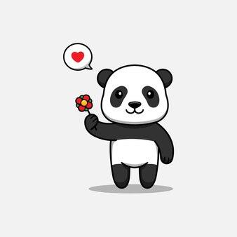 Słodka panda niosąca kwiat