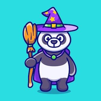 Słodka panda niosąca latającą miotłę