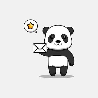 Słodka panda niosąca list