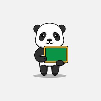 Słodka panda niosąca tablicę