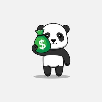 Słodka panda niosąca torbę pieniędzy