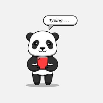 Słodka panda pisząca za pomocą smartfona