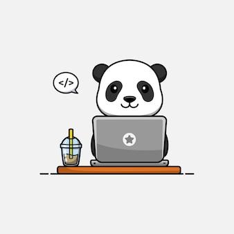 Słodka panda pracująca przed laptopem