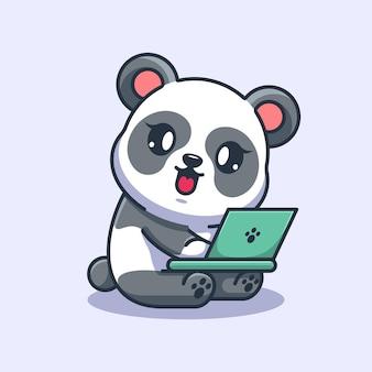 Słodka panda pracuje nad kreskówką na laptopie