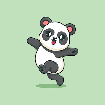 Słodka panda skacząca z kreskówki