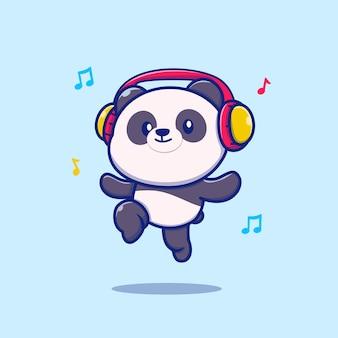 Słodka panda słuchająca muzyki w słuchawkach