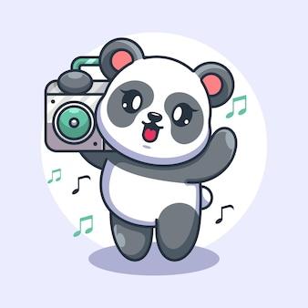 Słodka panda słuchająca muzyki z kreskówką boombox