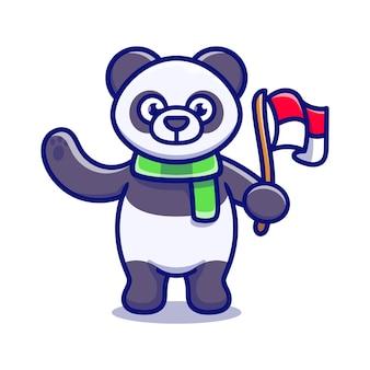 Słodka panda świętująca dzień niepodległości indonezji
