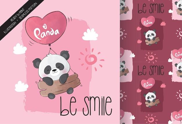 Słodka panda szczęśliwa latająca z bezszwowym wzorem balonu miłości