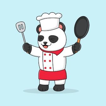 Słodka panda szefa kuchni trzyma łopatkę i nosi kapelusz