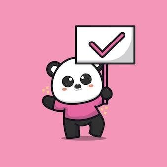 Słodka panda trzymać prawdziwy znak ilustracja kreskówka