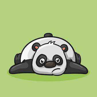 Słodka panda twarzą w dół zmęczoną kreskówkową stylizacją