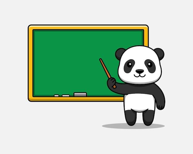 Słodka panda uczy z tablicą