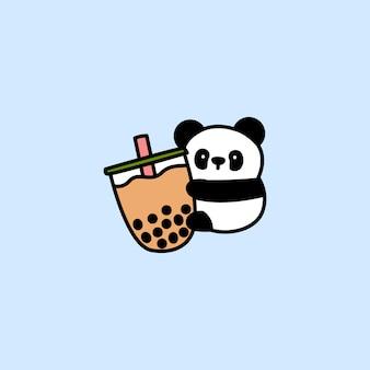 Słodka panda uwielbia kreskówkową herbatę z bąbelkami