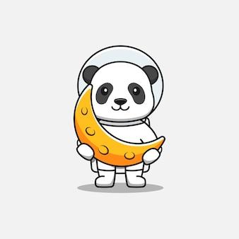 Słodka panda w kostiumie astronauty niosąca księżyc