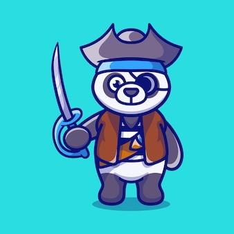 Słodka panda w kostiumie pirata na halloween