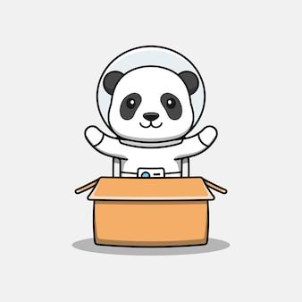 Słodka panda w tekturowym kostiumie astronauty