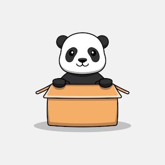 Słodka panda w tekturze