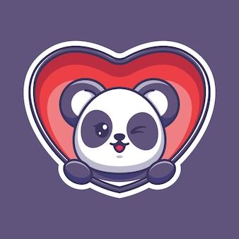 Słodka panda wyskakująca z kreskówki serca