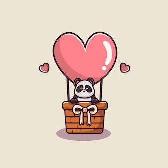 Słodka panda z balonem w kominku