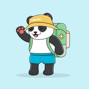 Słodka panda z plecakiem w kapeluszu