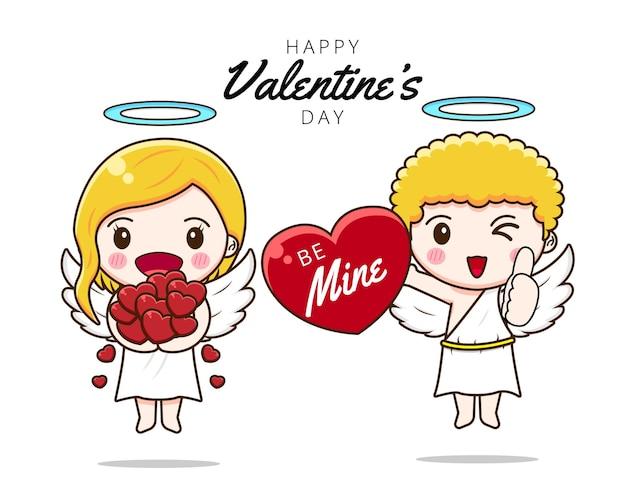 Słodka para amorek z miłością