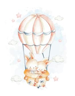 Słodka para królik latający z balonem na gorące powietrze akwarela ilustracja