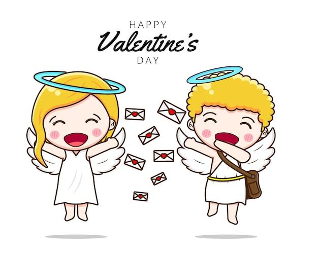 Słodka para kupidyna wysłała miłosną wiadomość