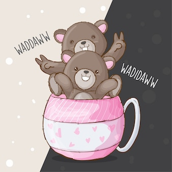 Słodka para niedźwiedź wyciągnąć rękę wektor zwierzę
