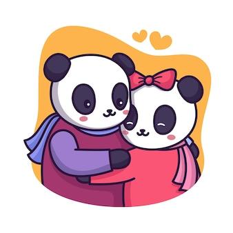 Słodka para panda