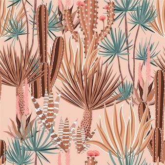 Słodka pastelowa kaktusowa roślina i kwiaty bezszwowy wzór.