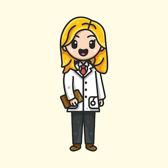 Słodka pielęgniarka dla ikona postaci naklejka z logo i ilustracja