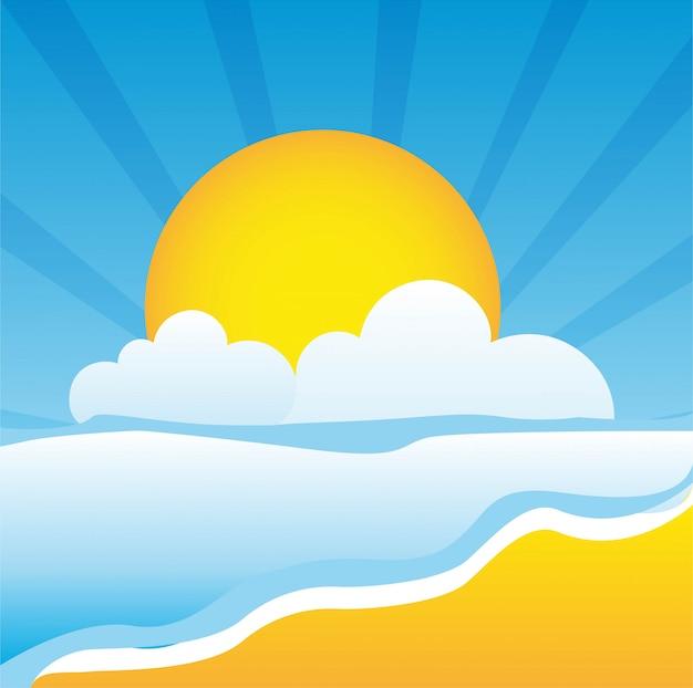 Słodka plaża z morza i słońca ilustracji wektorowych latem