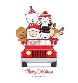 Słodka postać bożego narodzenia jazda samochodem świętującym boże narodzenie kreskówka doodle tło karty ilustracja płaski styl kreskówek