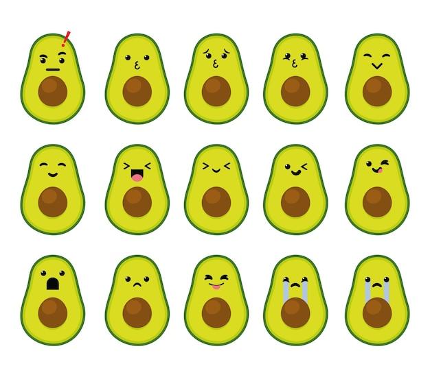 Słodka postać emoji z owocem awokado w różnych emocjach akcji