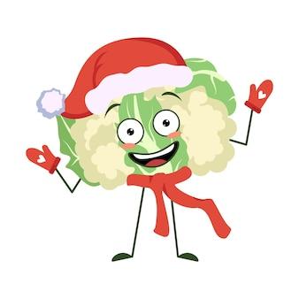 Słodka postać kalafiora z radosnymi emocjami uśmiechnięta buzia szczęśliwe oczy ręce i nogi zabawna zieleń ...