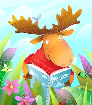 Słodka postać łosia czytająca książkę lub ucząca się w letnim lesie. styl akwareli.