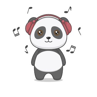 Słodka postać pandy w słuchawkach słuchająca muzyki