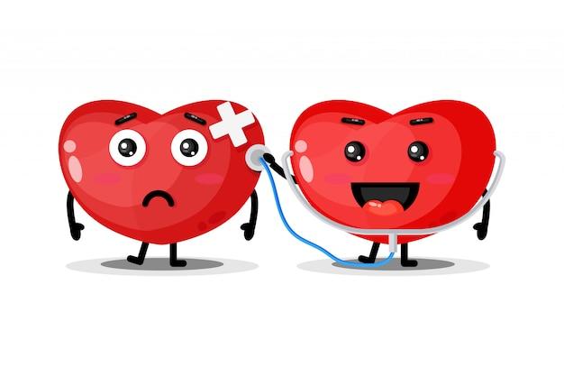Słodka postać serca sprawdza zdrowie
