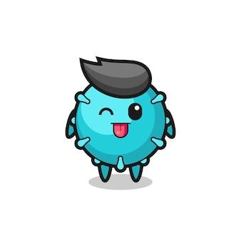 Słodka postać wirusa w słodkim wyrazie, wysuwając język, ładny styl na koszulkę, naklejkę, element logo