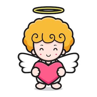 Słodka postać z kreskówki anioła z dobrą pozą