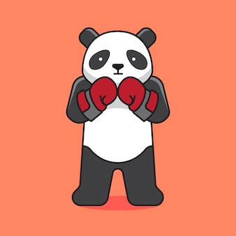 Słodka postać z kreskówki boks panda