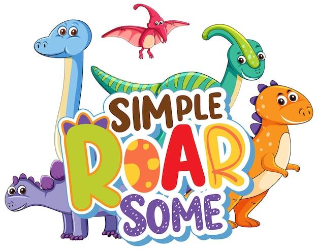 Słodka postać z kreskówki dinozaurów z prostym rykiem niektórych banerów czcionek