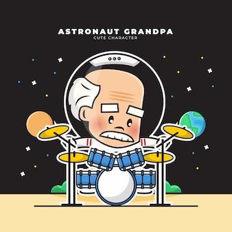 Słodka postać z kreskówki dziadka astronauty grał na bębnach