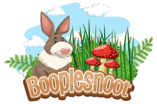 Słodka postać z kreskówki królika z izolowanym banerem czcionki booplesnoot