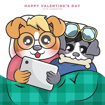 Słodka postać z kreskówki pary psów oglądała tablet i szczęśliwych walentynek