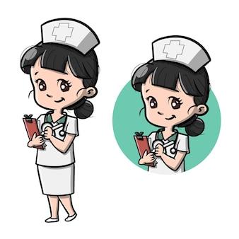 Słodka postać z kreskówki pielęgniarki
