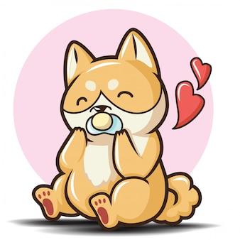 Słodka postać z kreskówki shiba inu pies.