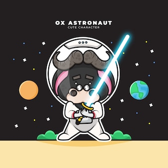 Słodka postać z kreskówki wołu astronauty trzyma miecz świetlny