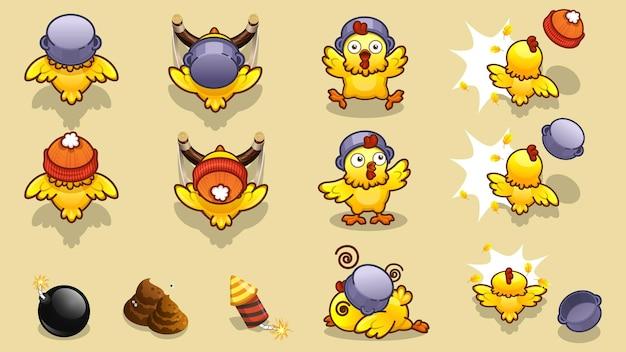 Słodka postać z kurczaka w różnych pozach do projektowania gier